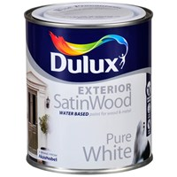 Dulux  Exterior SatinWood Pure White Paint - 750ml
