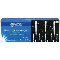 Premier Decorations  24 Chaser Icicle Lights with 72 White LEDs