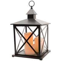Kaemingk  Traditional Lantern with 3 LED Candles & Timer - Antique Black